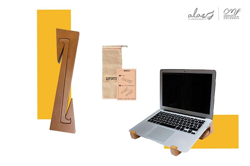 Soporte en madera para portátil